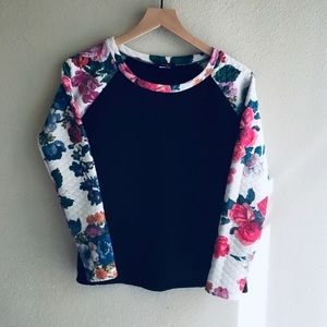 🌸Quilted Black Floral Long Sleeve Sweater Shirt